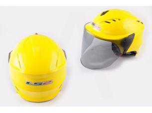 Шлем открытый   (mod:100) (аэроформа, черный визор) (size:XL, желтый)   LS2