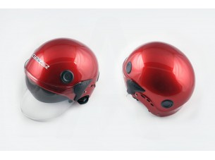 Шлем открытый   (mod:101) (классическая форма, прозрачный визор) (size:XL, красный)   LS2