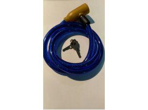 Замок на колесо   (трос 1000*10mm) (с ключом)   (синий)   YKX