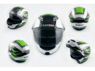 Шлем трансформер   (size:XL, бело-зеленый, + солнцезащитные очки)   LS-2