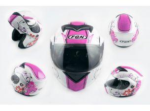 Шлем трансформер   (mod:J) (size:XL, белый c узором, FLOWER)   FGN