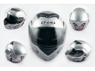 Шлем трансформер   (mod:111) (size:XL, серебро, + солнцезащитные очки)   FGN