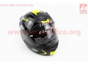 Шлем закрытый ROOKIE ATMOS FF352 XL - ЧЕРНЫЙ с рисунком серо-желтым