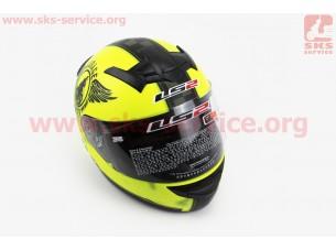 Шлем закрытый ROOKIE FAN MATT FF352 XL - ЖЕЛТЫЙ матовый с рисунком черным