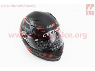 Шлем закрытый TRON FF358 XL - ЧЕРНЫЙ матовый с рисунком красно-серым