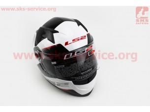 Шлем закрытый TYRELL II FF358 XL - БЕЛЫЙ с рисунком черно-серо-красным