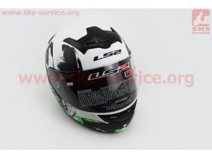 Шлем закрытый ROOKIE ONE FF352 XL - БЕЛЫЙ матовый с рисунком черно-зеленым