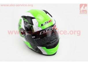 Шлем закрытый FF358 XL - БЕЛЫЙ с рисунком черно-зеленым (Continental)