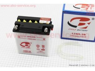 Аккумулятор 9Аh МОТО 12N9-3B кислотный (L135*W75*H135 mm), 2019 (завод OUTDO)