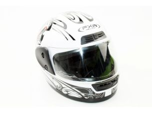 Шлем закрытый HF-109 M- БЕЛЫЙ с рисунком Q09