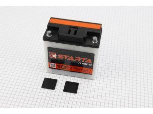 """Аккумулятор 6V 18Аh 3МТС-18 кислотный (L140*W75*H140mm), 2020, круглая клема, МТ, ИЖ """"STARTA"""""""