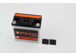 "Аккумулятор 9Аh MOTO 6МТС-9 кислотный (L140*W75*H140mm), 2020, плоская клема, МТ, ИЖ ""STARTA"""