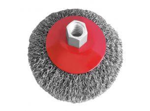 Щетка конусная 115 мм, для УШМ, М14 (витая проволока) INTERTOOL
