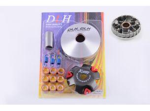 Вариатор передний   (тюнинг) 4T GY6 50   (ролики латунь 9шт, палец, пруж. сцепления)   (DLH)   VDK