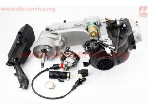 Двигатель скутерный в сборе 4Т-80куб (длинный вариатор, длинный вал) + карбюратор, коммутатор, катушка зажигания, фильтр воздушный