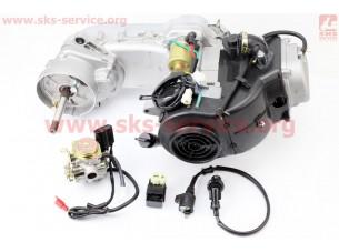 Двигатель скутерный в сборе 4Т-80куб (короткий вариатор, длинный вал) + карбюратор, коммутатор, катушка зажигания