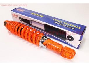 Амортизатор задний 320мм (регулируемый, цвет - оранжевый с паутиной)