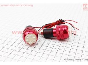 Заглушка - отбойник руля H10BR c LED подсветкой (3синих+3красных диода), к-кт 2шт