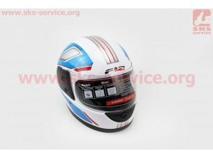 Шлем закрытый 825-3 S- БЕЛЫЙ с рисунком сине-белой полосой