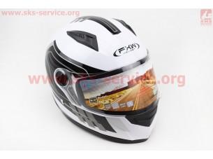 Шлем закрытый HF-111 M- БЕЛЫЙ с черным рисунком Q151-S