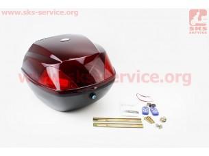Кофр средний (пластмассовый) 380*380*290мм, с АУДИО-блоком (МРЗ-USB/SD, FM-радио, пульт ДУ), черно-бордовый HF-811