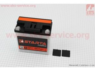 "Аккумулятор 12V/9Аh, (кислотный, сухой, плоская клема) 140/75/140мм, МТ,ИЖ, ""STARTA"", 2018"
